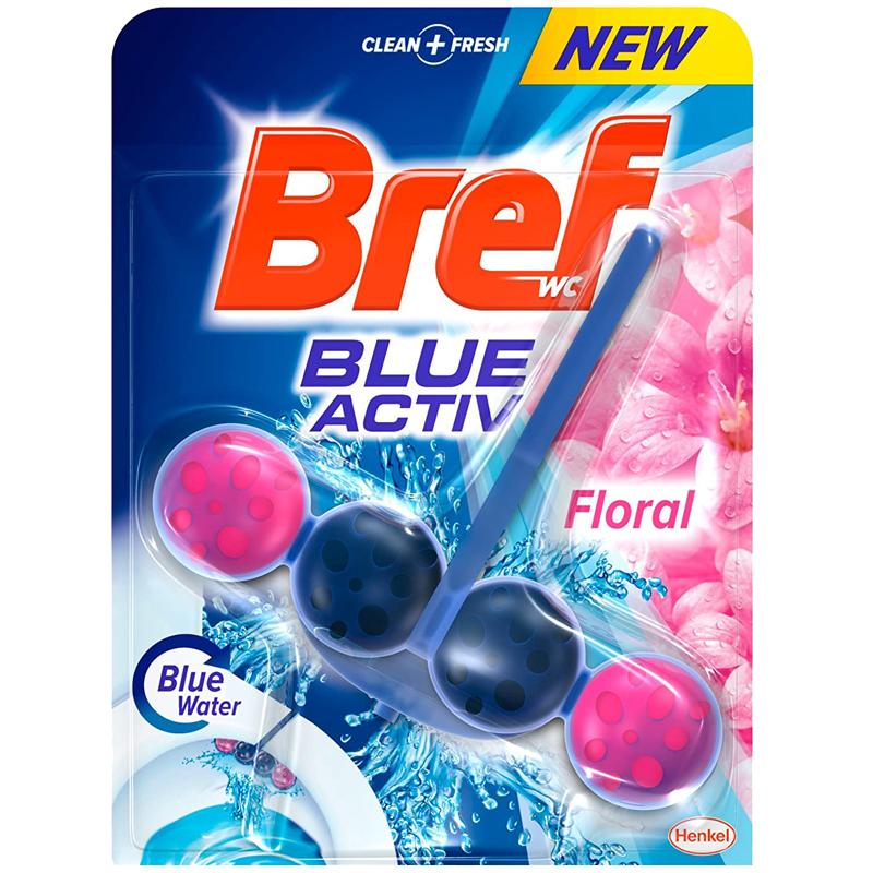 Bref Toilet Basin Freshener Clip On - Blue Active Floral