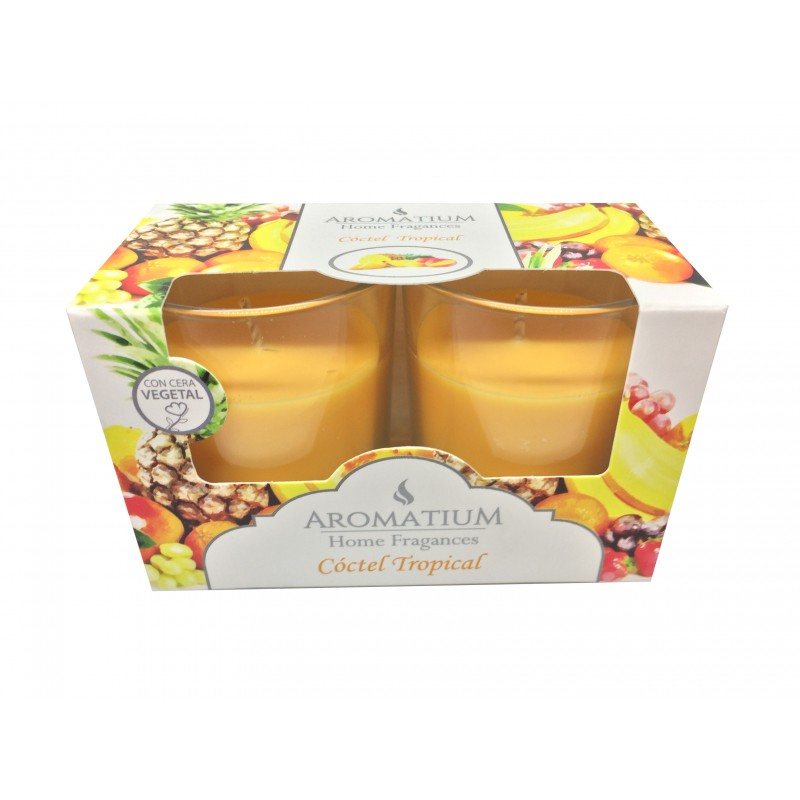 Scented Candles in glass jar Twin Pack AROMATIUM Tropical Cocktail